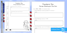 Presidents' Day George Washington Pop Quiz Go Respond Activity Sheet