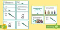 Tarjetas de desafío de matemáticas: Multiplicación y división