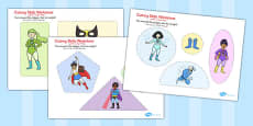 Superhero Themed Cutting Skills Activity Sheets Arabic Translation