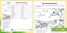 Easter Picture Read, Search and Colour Activity Sheet German