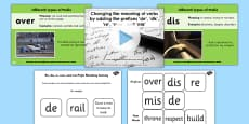 Adding Prefixes de dis re over and mis SPaG Teaching PowerPoint Pack