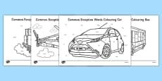 Year 1 Common Exception Words Colouring Transport