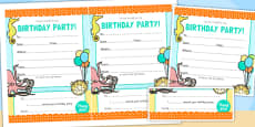 Under the Sea Themed Birthday Party Invitations