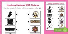Diwali Shadow Matching Activity Sheet