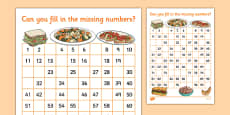 Food Themed Missing Numbers Number Square