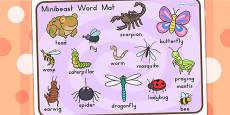 Australia - Minibeasts Cute Word Mat