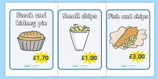 Fish And Chip Shop Role Play Signs