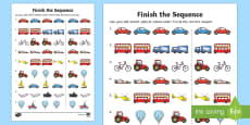 Finish The Sequence Transport Activity Sheet