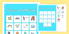 Forces and Motion Vocabulary Matching Mat