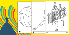 The Olympics Volleyball Colouring Sheets