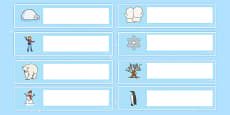 Winter Themed Editable Gratnells Tray Labels