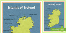 Islands of Ireland Large Display Poster English