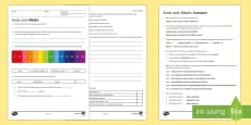 KS3 Acids and Alkalis Homework Activity Sheet