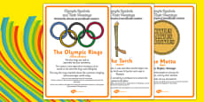 The Olympics Symbols and Their Meanings Display Posters Romanian Translation