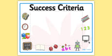 Editable Success Criteria Display Signs