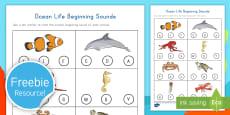 Ocean Life Beginning Sounds Activity Sheet
