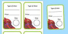 Shoe Shop Role Play Shoe Box Labels
