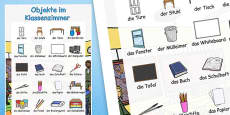 Classroom Objects Large Display Poster German