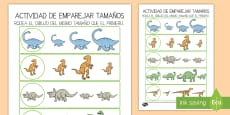 Ficha de actividad: Emparejar tamaños - Dinosaurios