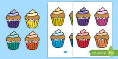 Posters d'affichage : Les mois de l'année sur des cupcakes