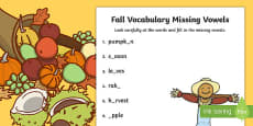 Fall Vocabulary Missing Vowels Activity Sheet
