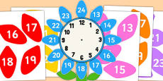12 to 24 Hour Clock Label Flower