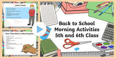 Back to School Morning Activities 5th and 6th Class 1 Week PowerPoint