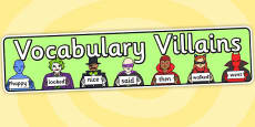Vocabulary Villains Display Banner