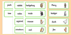 Word Cards to Support Teaching on Percy The Park Keeper