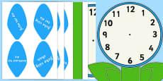 Analogue Clock Flower Labels Words Gaeilge