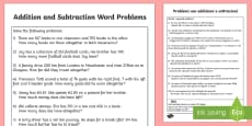 Addition and Subtraction Word problems Activity Sheet English/Italian