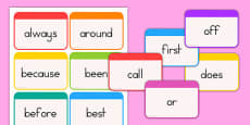 Dolch Word Flashcards Second Grade