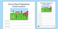 Circus Place Prepositions Written Questions