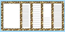 Leopard Pattern Portrait Page Border