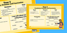 Year 5 Vocabulary, Grammar and Punctuation Poster