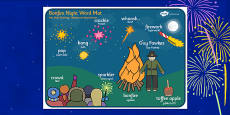 Bonfire Night Scene Word Mat Polish Translation