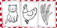 The Little Red Hen Colouring Sheets