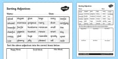 Sorting Adjectives Activity Sheet