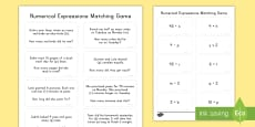 * NEW * Numerical Expressions Matching Game