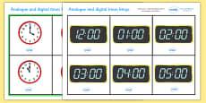 Analogue and Digital O' Clock Bingo