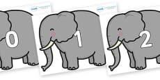 Numbers 0-100 on Elephants