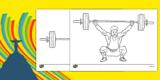 The Olympics Weightlifting Colouring Sheets