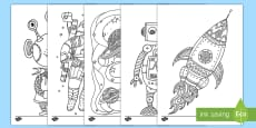 Space Themed Mindfulness Coloring Pages Activity