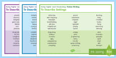 Using Higher Level Vocabulary 'Fiction Description Writing' Word Mats