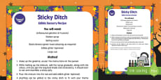 Sticky Ditch Edible Sensory Recipe to Support Teaching on Room on the Broom