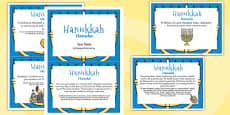 Hanukkah Display Fact Cards Romanian Translation