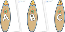 A-Z Alphabet on Surf Boards