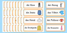 Clothes Shop Word Cards German