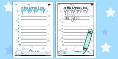 In The Arctic 10 Things I See... Writing Frame