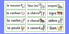 French Animal Word Cards